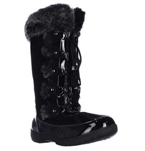 Sporto Millie Faux Fur Trim Winter Boots, Black.