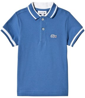 Lacoste Blue Pique Polo with White Tipping