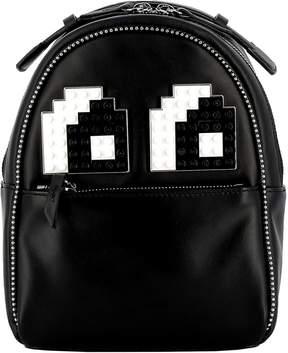 Les Petits Joueurs Black Leather Backpack