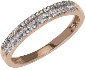 Ice Diamond Stackable Ring 1/4 ct tw Round/Baguette 10K Rose Gold