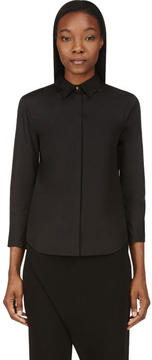 Calvin Klein Collection Black Poplin and Sheer Georgette Blouse