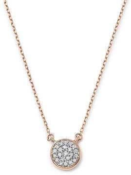 Adina 14K Rose Gold Pavé Diamond Disc Necklace, 15