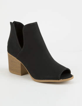 Qupid Peep Toe Womens Black Booties