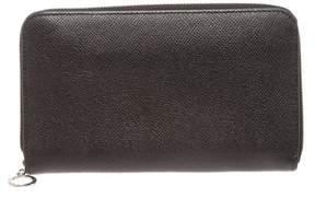 Bvlgari Black Leather Zippy Long Wallet.