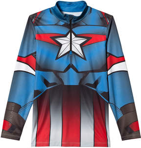Spyder Red, White and Blue Captain America Marvel T-Neck 1/4 Zip Mid Layer