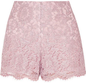 Valentino Scalloped Metallic Corded Lace Shorts - Lilac