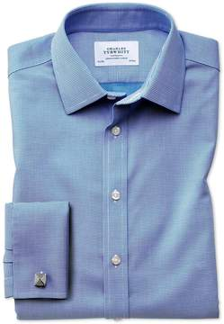 Charles Tyrwhitt Slim Fit Non-Iron Square Weave Blue Cotton Dress Shirt Single Cuff Size 15.5/33