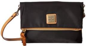 Dooney & Bourke Miramar Fold-Over Zip Crossbody Cross Body Handbags - BLACK/BTRSCTCH TRIM - STYLE