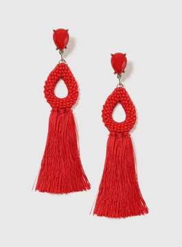 Dorothy Perkins Red Seed Bead And Tassel Earrings