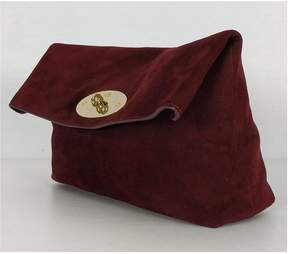 Mulberry Burgundy Suede Clemmie Clutch