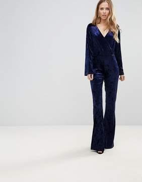 Club L Velvet Wrap Over Straight Leg Jumpsuit