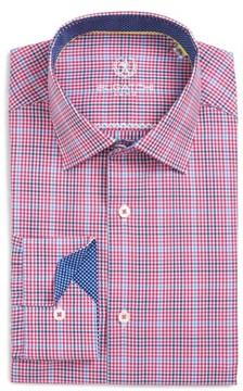 Bugatchi Men's Trim Fit Microcheck Dress Shirt