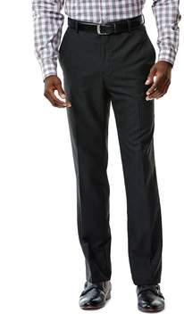 Haggar Men's Tailored-Fit Shadow-Striped Black Flat-Front Suit Pants