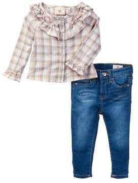 AG Jeans Plaid Woven Shirt & Solid Jeans (Baby Girls)