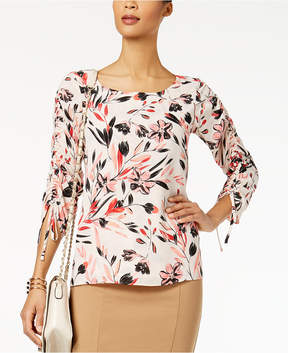 Alfani Printed Drawstring-Sleeve Blouse, Created for Macy's