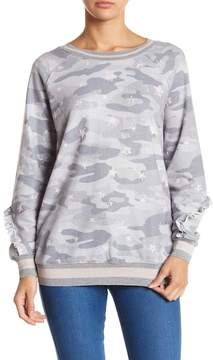 Democracy Star Camo Print Ruffled Sweatshirt
