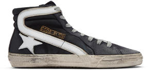 Golden Goose Deluxe Brand Navy Denim Slide High-Top Sneakers