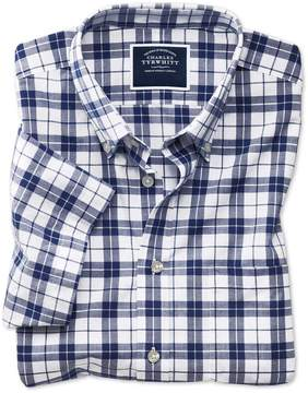 Charles Tyrwhitt Slim Fit Poplin Short Sleeve Navy and White Cotton Casual Shirt Single Cuff Size Large