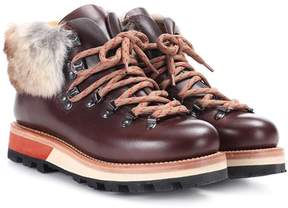 Woolrich Fur-trimmed leather ankle boots