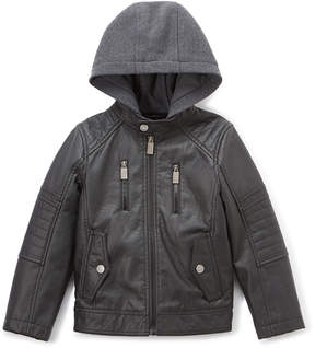 Urban Republic Black Hooded Faux Leather Jacket - Boys
