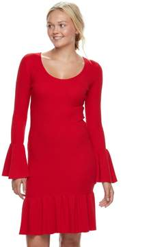 Almost Famous Juniors' Bell Sleeve Sweater Dress