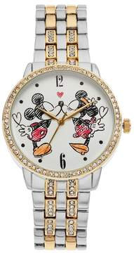 Disney Disney's Mickey & Minnie Mouse Women's Crystal Two Tone Watch