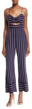 Bardot Lulu Sleeveless Cutout Wide-Leg Striped Jumpsuit