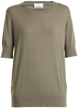 Allude Round-neck cotton-blend T-shirt