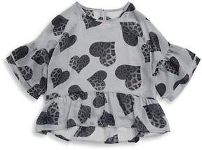 Design History Girl's Hi-Lo Cheetah Blouse