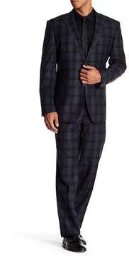 English Laundry Navy/Brown Plaid Notch Lapel Trim Fit Two Button Wool Suit