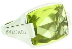 Bulgari 18K White Gold Peridot Ring