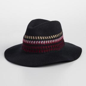 World Market Black Crochet Rancher Hat with Multicolor Band