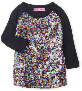 Betsey Johnson Girls 4-6x) Sequin Embellished Raglan Top