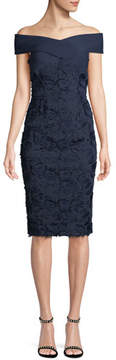 Black Halo Leone Off-the-Shoulder Lace Dress