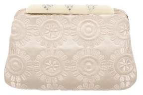 Judith Leiber Embroidered Floral Satin Clutch