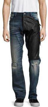 Cult of Individuality Six-Pocket Distressed Two-Tone Denim Pants
