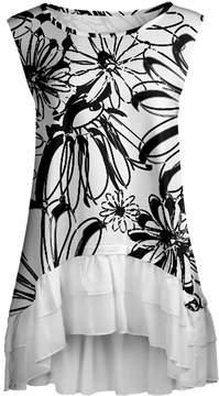 Lily White & Black Sketch Floral Ruffle-Hem Sleeveless Tunic - Women & Plus