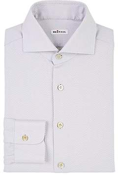 Kiton Men's Diamond-Jacquard Cotton Dress Shirt