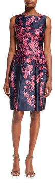 David Meister Sleeveless Bateau-Neck Floral Satin Cocktail Dress