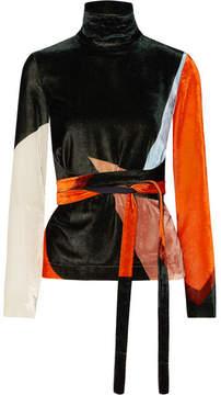 Cédric Charlier Tie-front Color-block Velvet Top - Black