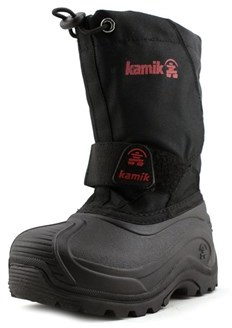 Kamik Snowbound Youth Round Toe Synthetic Black Snow Boot.