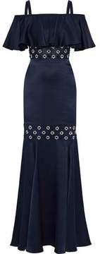 Temperley London Cold-Shoulder Embellished Tulle-Paneled Silk-Satin Maxi Dress