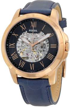 Fossil Grant Navy Blue Skeleton Dial Automatic Men's Watch