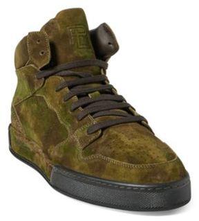 Ralph Lauren Giancarlo Camo Suede Sneaker Green Multi 10 D