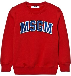 MSGM Red Branded Varsity Sweatshirt