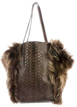 Carlos Falchi Shearling and Python Tote