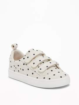 Old Navy Linen Polka-Dot Secure-Strap Sneakers for Toddler Girls