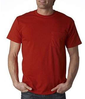 Fruit of the Loom Heavy Cotton Pocket T-shirt - True Red - Large