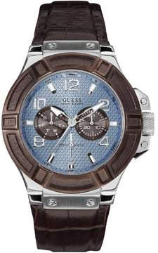 GUESS W0040G10 Rigor Leather Mens Watch for Men
