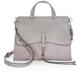 Rebecca Minkoff Keith Medium Leather Satchel - GREY - STYLE